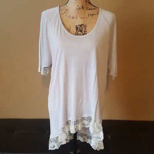 Express Gray Lace Lined Hi Low Tunic Top NWT M